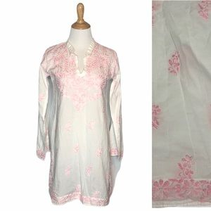 Neemrana Pink/White Embroidered Tunic Coverup s